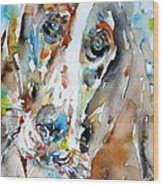 Basset Hound - Watercolor Portrait.1 Wood Print