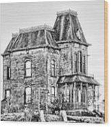 Bates Motel Haunted House Black And White Wood Print