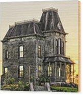 Bates Motel Haunted House Wood Print by Paul W Sharpe Aka Wizard of Wonders
