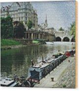 Bath Canal Wood Print