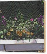 Bath Tub Flowers Wood Print
