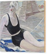 Bather In A Black Swimsuit Wood Print