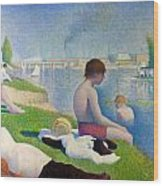 Bathers In Asnieres Wood Print