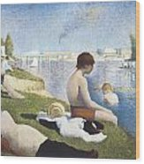 Bathing At Asnieres Wood Print by George-Pierre Seurat