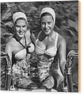 Bathing Beauties Black And White Wood Print