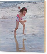 Bathing Beauty Running Wood Print
