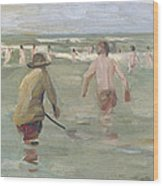 Bathing Boys With Crab Fisherman Wood Print