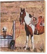 Bathing Cowgirl Wood Print
