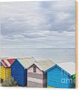 Bathing Huts Brighton Beach Melbourne Australia Wood Print by Colin and Linda McKie