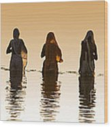 Bathing In The Holy River 2 Wood Print