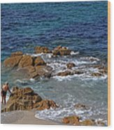 Bathing In The Sea - La Coruna Wood Print by Mary Machare