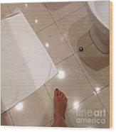 Bathroom Foot Entering A Bathroom Wood Print