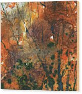 Batik Style/new England Fall-scape No.34 Wood Print