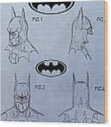 Batman Mask Patent Wood Print