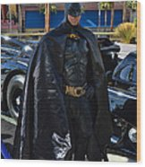 Batmobile And Batman Wood Print by Tommy Anderson