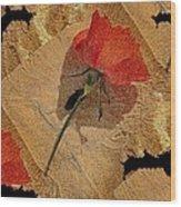 Bats And Roses Wood Print