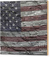 Battered Old Glory Wood Print