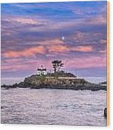 Battery Point Lighthouse And Moon Wood Print