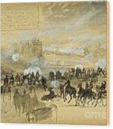 Battle At White Oak Swamp Bridge Wood Print