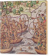 Battle Between Indian Tribes Wood Print