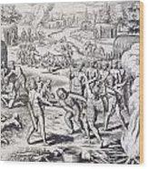 Battle Between Tuppin Tribes Wood Print