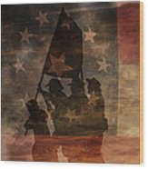 Battle Flag Silhouette 1st Of Three Wood Print by Randy Steele