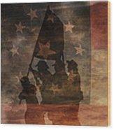 Battle Flag Silhouette 1st Of Three Wood Print by Randy Steele