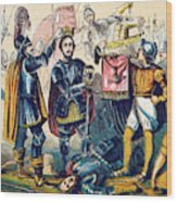 Battle Of Bosworth, Henry Vii Crowning Wood Print
