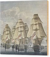 Battle Of Trafalgar Wood Print by Robert Dodd