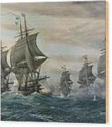 Battle Of Virginia Capes Wood Print