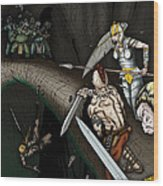 Battle On The Stone Bridge Wood Print