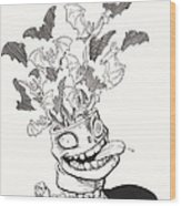 Batty Wood Print by Richard Moore