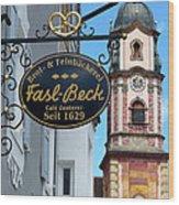 Bavarian Bakery Sign  Wood Print