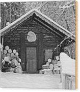 Bavarian Hut In Snow Wood Print