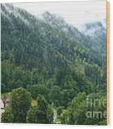 Bavarian Mountain Slope With Mist Wood Print