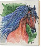 Bay Arabian Horse With Blue Mane 30 10 2013 Wood Print