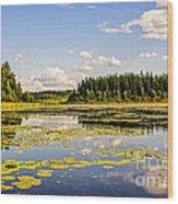 Bay At The Waskesiu Lake With Lily Wood Print