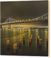 Bay Bridge And Clouds At Night Wood Print