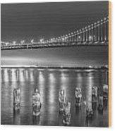 Bay Bridge Black And White Wood Print