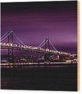 Bay Bridge Purple Haze Wood Print