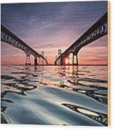 Bay Bridge Reflections Wood Print by Jennifer Casey