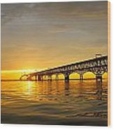 Bay Bridge Sunset Glow Wood Print