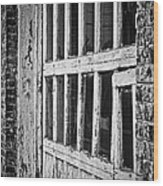 Bay Door In B/w Wood Print
