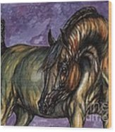 Bay Horse On The Purple Background Wood Print