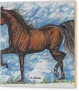 Bay Horse Running Wood Print