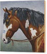 Bay Native American War Horse Wood Print