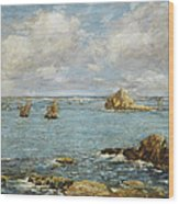 Bay Of Douarnenez Wood Print by Eugene Louis Boudin