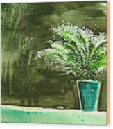 Bay Window Plant Wood Print