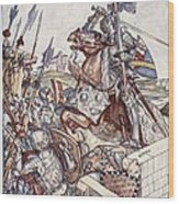 Bayard Defends The Bridge, Illustration Wood Print