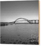 Bayonne Bridge Long Exposure Bw Wood Print